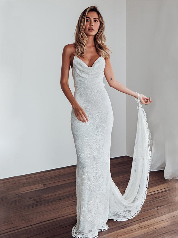 Sheath Lace White Spaghetti Straps Sleeveless Brush Train Wedding Dresses
