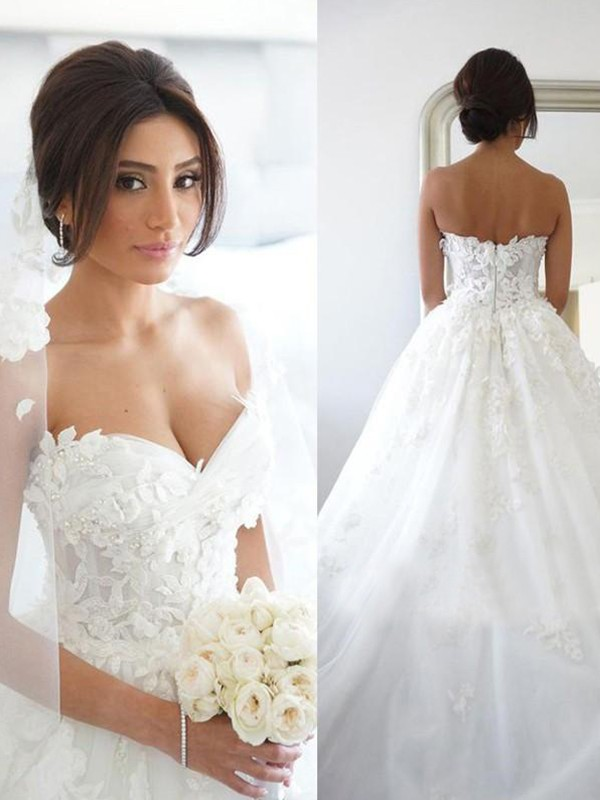 Ball Gown Tulle Applique White Sweetheart Sleeveless Brush Train Wedding Dresses