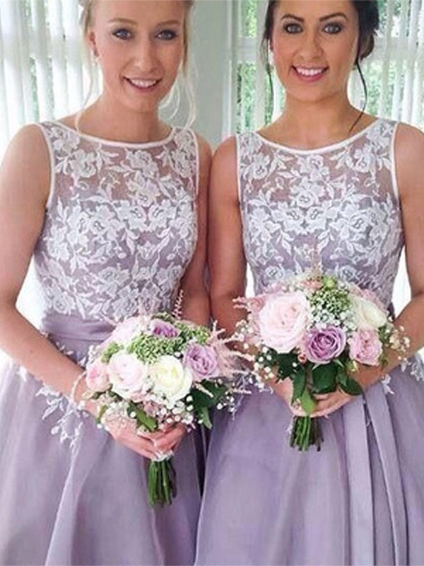A-Line Lilac Sheer Neck Knee-Length Applique Organza Bridesmaid Dresses