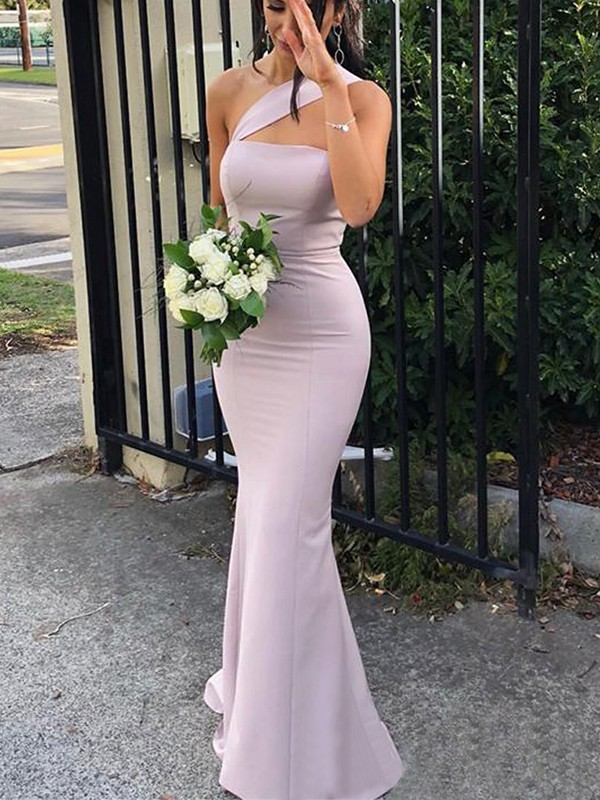 Sheath Sleeveless Lilac One-Shoulder Floor-Length Spandex Bridesmaid Dresses