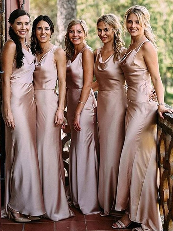 Sheath Pearl Pink V-neck Floor-Length Silk like Satin Bridesmaid Dresses