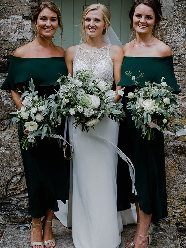 A-Line Chiffon Dark Green 1/2 Sleeves Ankle-Length Bridesmaid Dresses