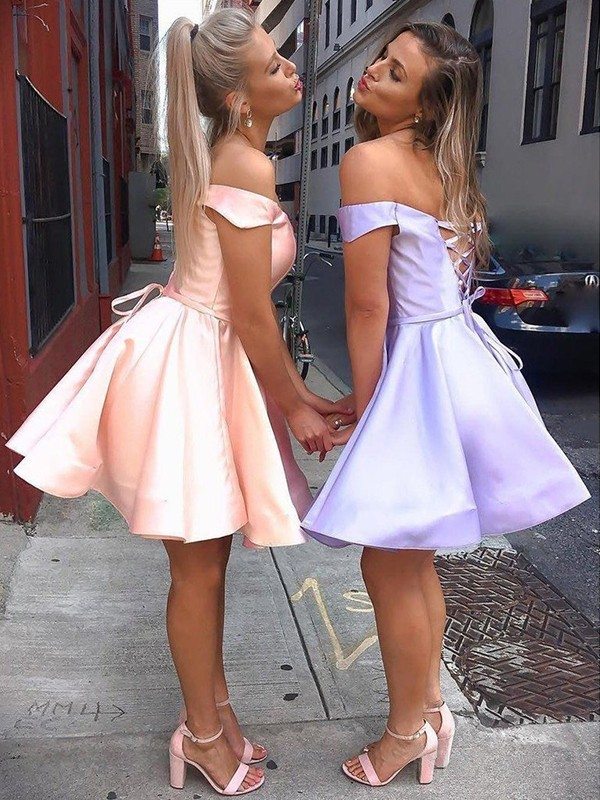 A-Line Satin Off-the-Shoulder Pearl Pink Short/Mini Homecoming Dresses
