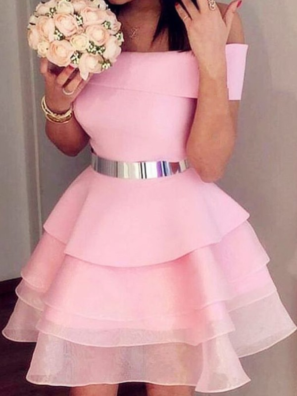 A-Line Organza Off-the-Shoulder Pink Sleeveless Short/Mini Homecoming Dresses