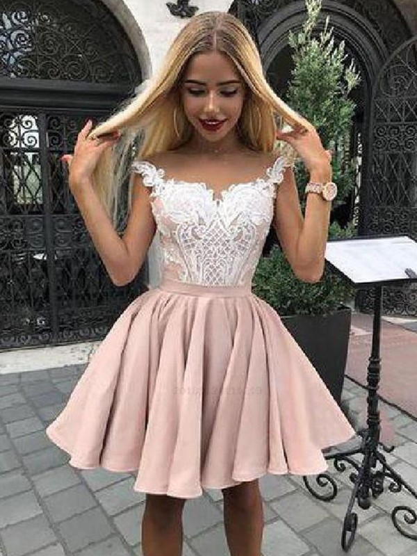 A-Line Satin Applique Off-the-Shoulder Pearl Pink Short/Mini Homecoming Dresses