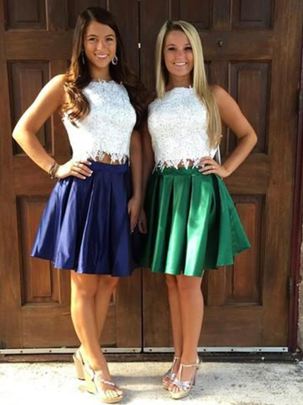 A-Line Satin Ruffles Dark Navy Sheer Neck Short/Mini Two Piece Homecoming Dresses