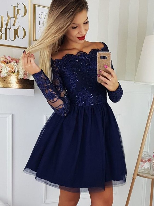 A-Line Tulle Applique Dark Navy Long Sleeves Short/Mini Homecoming Dresses