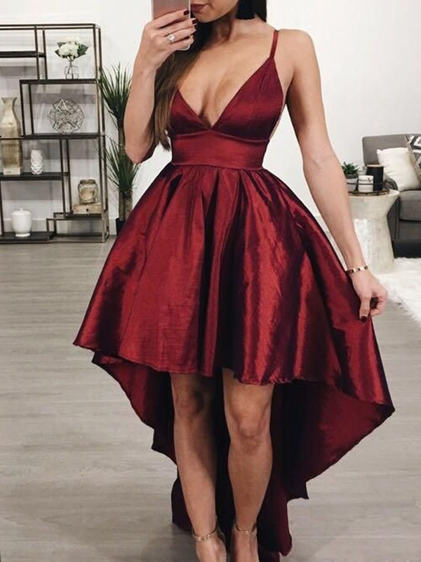 A-Line Satin Ruffles Burgundy Sleeveless Asymmetrical Homecoming Dresses