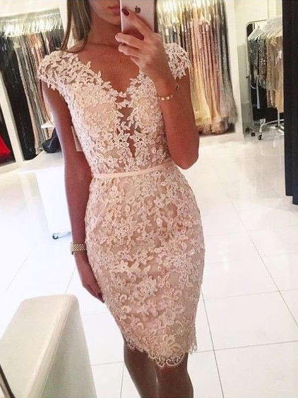 Sheath Lace V-neck Sleeveless Pearl Pink Knee-Length Homecoming Dresses