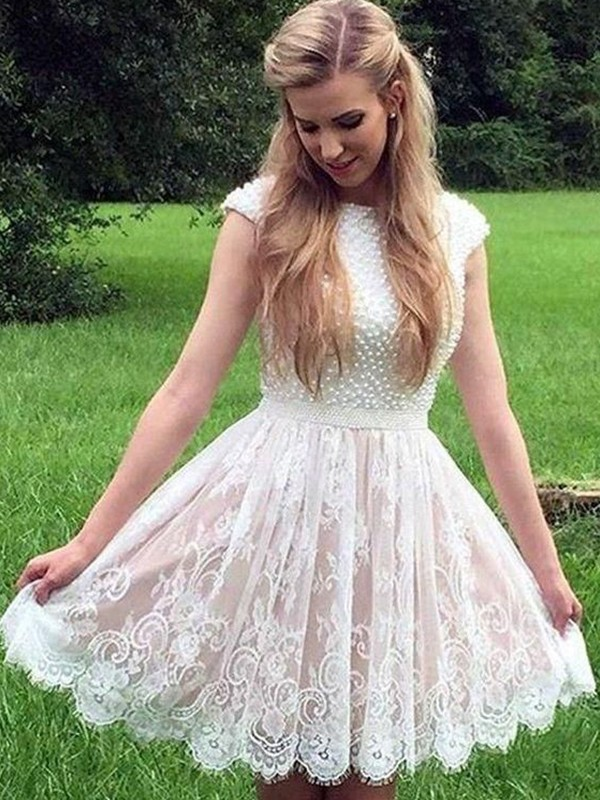 A-Line Lace Pearls Sheer Neck White Sleeveless Short/Mini Homecoming Dresses