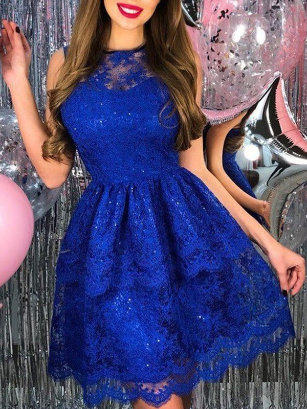 A-Line Lace Applique Sheer Neck Royal Blue Short/Mini Homecoming Dresses