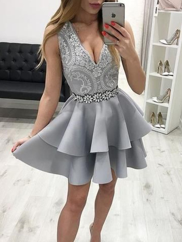A-Line Satin Applique V-neck Grey Sleeveless Short/Mini Homecoming Dresses