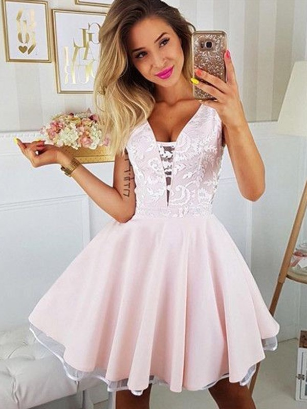 A-Line Satin Applique V-neck Sleeveless Pearl Pink Short/Mini Homecoming Dresses
