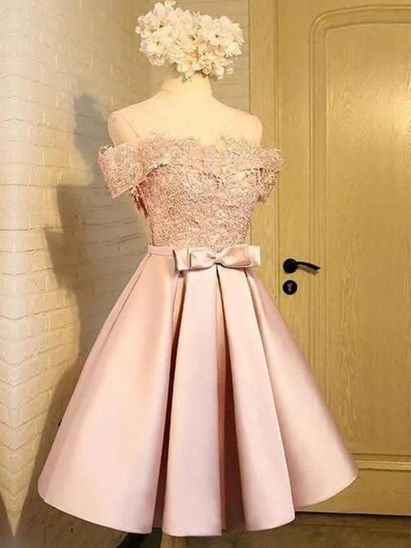 A-Line Satin Applique Pink Sleeveless Short/Mini Homecoming Dresses