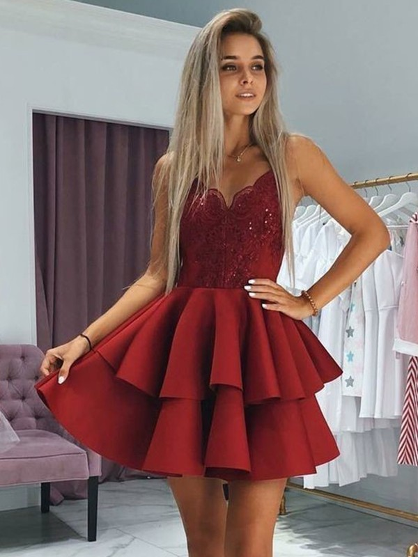 A-Line Satin Spaghetti Straps Burgundy Sleeveless Short/Mini Homecoming Dresses