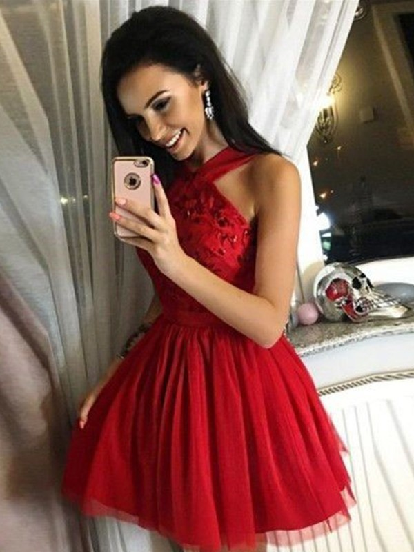 A-Line Tulle Paillette Halter Red Sleeveless Short/Mini Homecoming Dresses