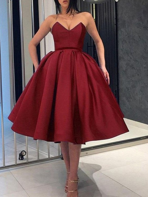 Ball Gown Satin Ruffles Burgundy Sleeveless Knee-Length Homecoming Dresses