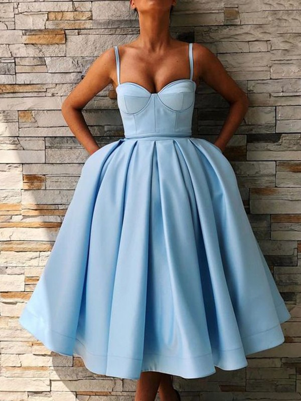Ball Gown Satin Blue Spaghetti Straps Sleeveless Tea-Length Homecoming Dresses