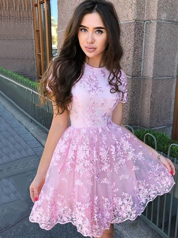A-Line Organza Applique Sheer Neck Sleeveless Short Homecoming Dresses