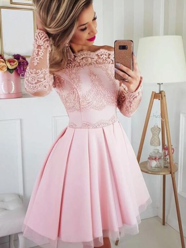 A-Line Satin Lace Off-the-Shoulder Long Sleeves Short Homecoming Dresses