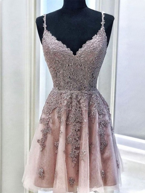 A-Line Tulle Beading Spaghetti Straps Sleeveless Short Homecoming Dresses