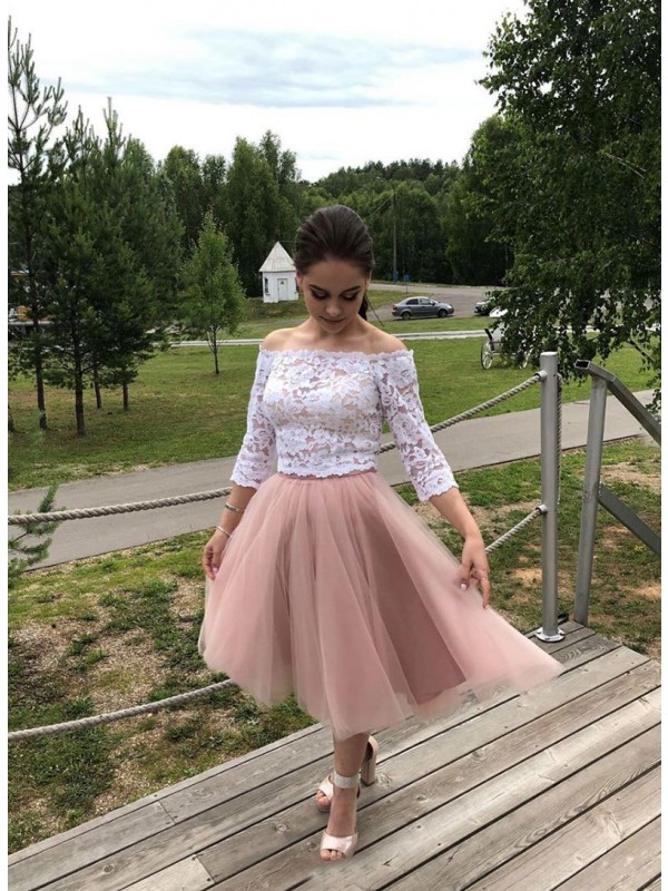 A-Line Tulle Lace Off-the-Shoulder Long Sleeves Tea-Length Homecoming Dresses