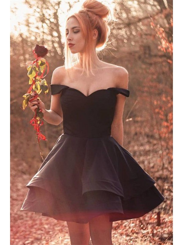 A-Line Spandex Ruffles Off-the-Shoulder Sleeveless Short Homecoming Dresses