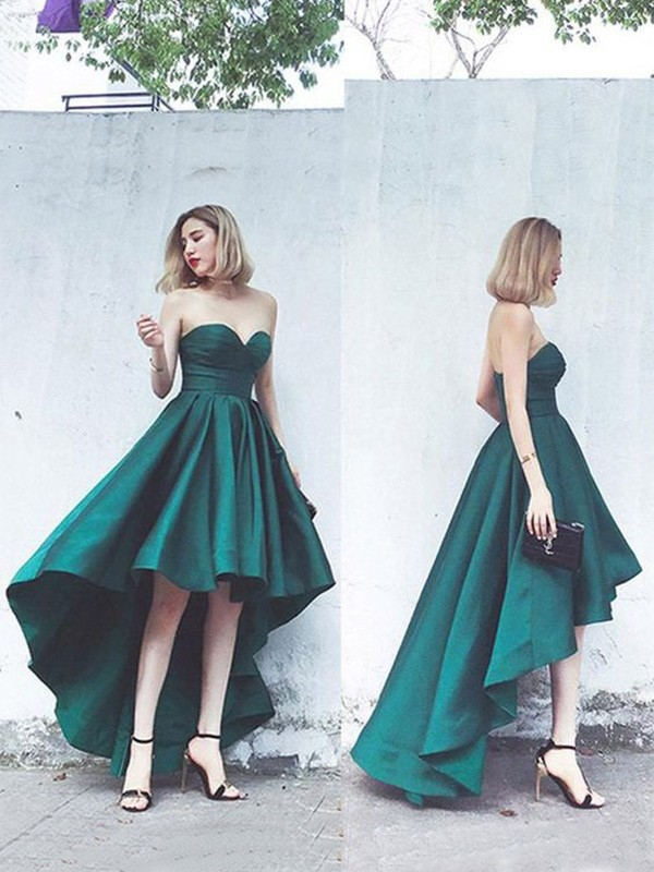 A-Line Satin Ruffles Sweetheart Sleeveless Asymmetrical Homecoming Dresses