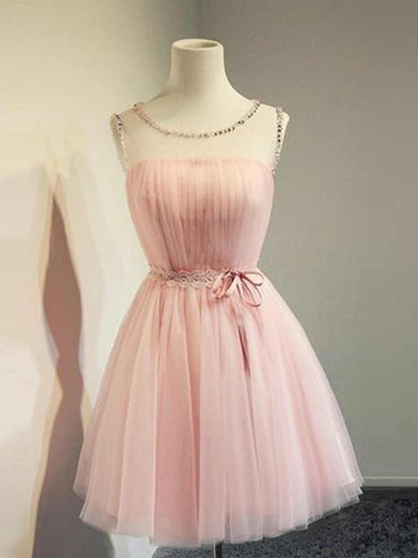 A-Line Tulle Beading Scoop Sleeveless Short Homecoming Dresses