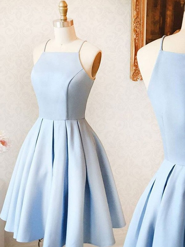 A-Line Satin Ruffles Light Sky Blue Spaghetti Straps Sleeveless Short/Mini Homecoming Dresses
