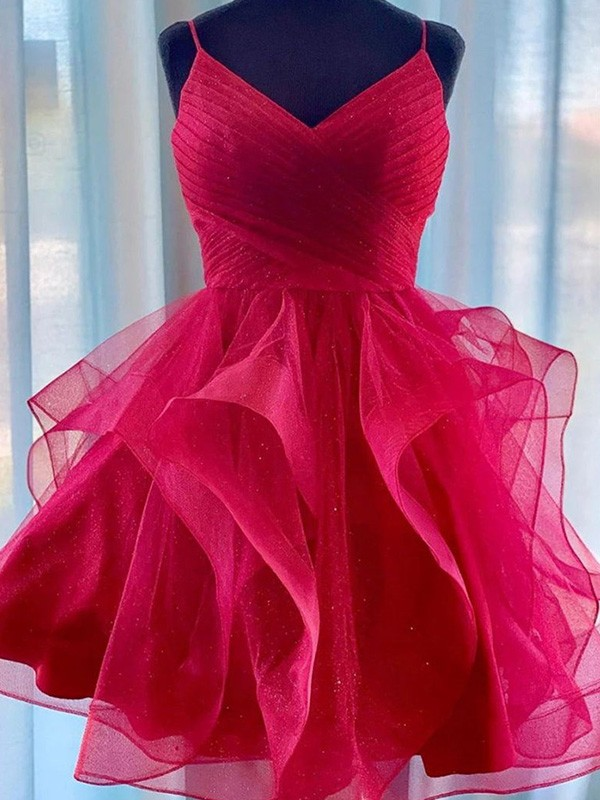 A-Line Tulle Red Spaghetti Straps Sleeveless Ruffles Short/Mini Homecoming Dresses