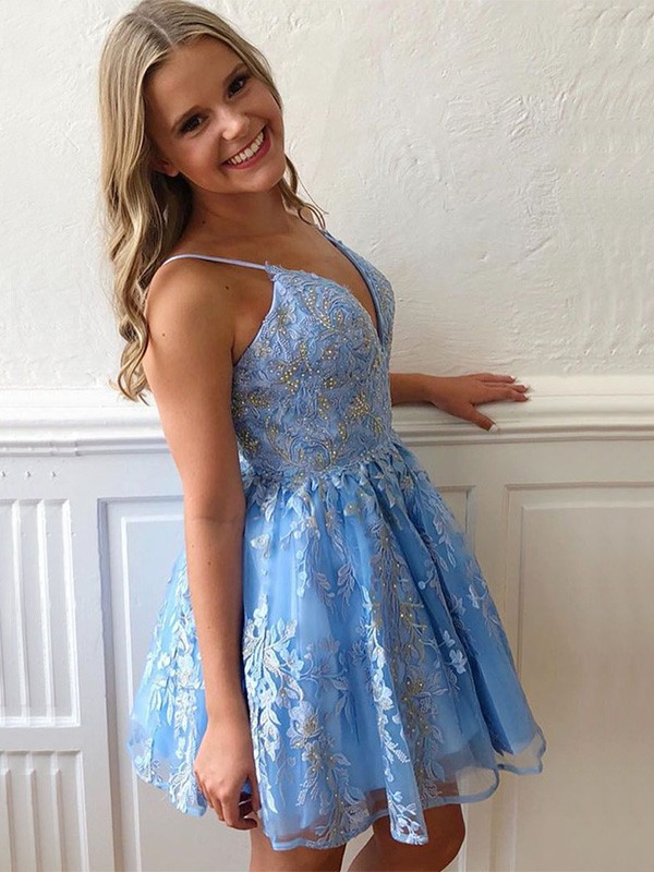 A-Line Blue Tulle Spaghetti Straps Sleeveless Applique Short/Mini Homecoming Dresses