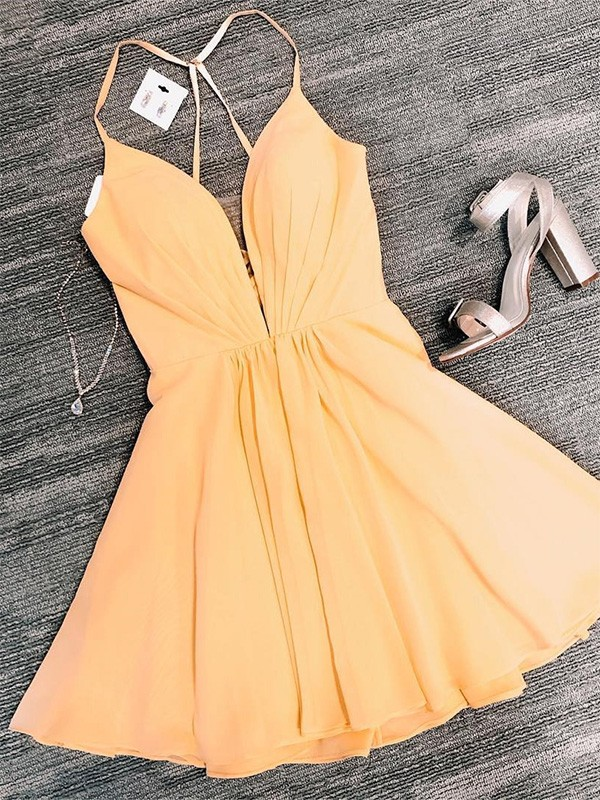 A-Line Chiffon V-neck Sleeveless Ruffles Daffodil Short/Mini Homecoming Dresses