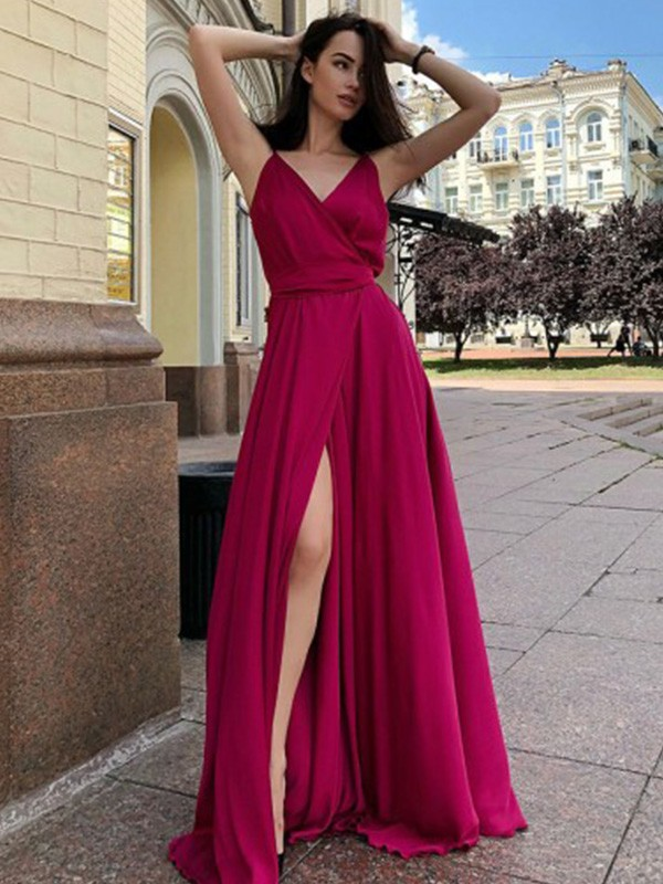 A-Line/Princess Satin Chiffon Spaghetti Straps Ruffles Sleeveless Sweep/Brush Train Dresses
