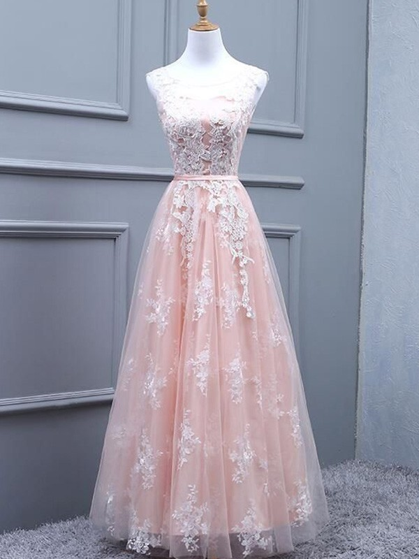 A-Line/Princess Tulle Scoop Sleeveless Floor-Length Applique Dresses