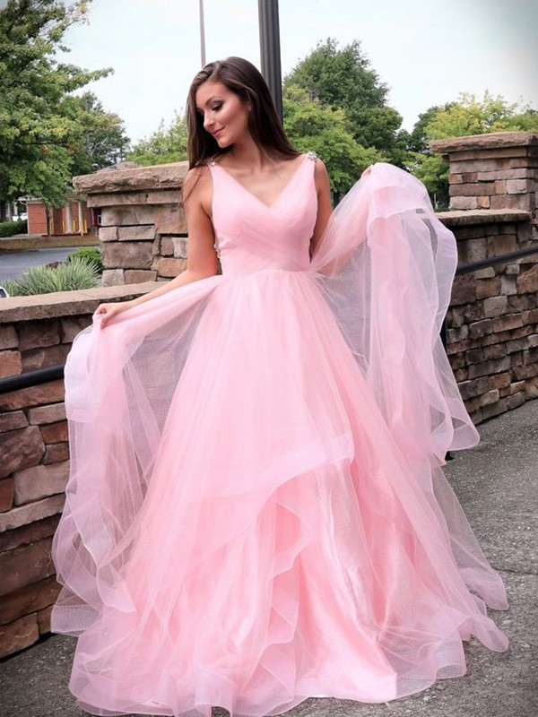 A-Line/Princess Tulle Ruched Sleeveless Sweep/Brush Train V-neck Dresses