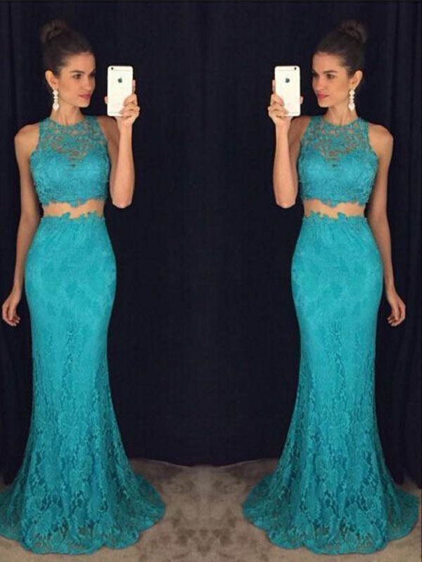 Sheath Scoop Floor-Length Green Prom Dresses