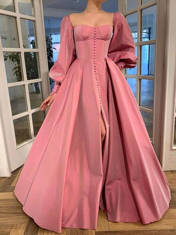 A-Line/Princess Long Sleeves Square Ruffles Satin Floor-Length Dresses