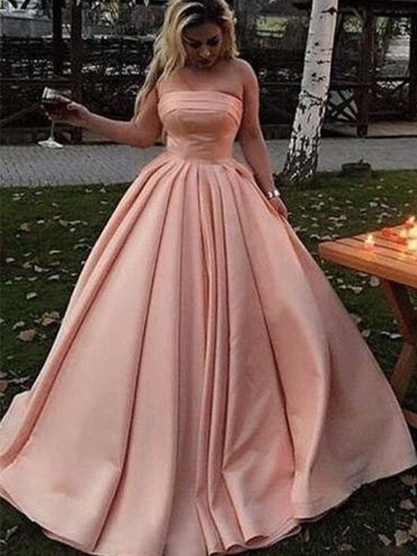 Ball Gown Satin Strapless Ruffles Sleeveless Sweep/Brush Train Dresses