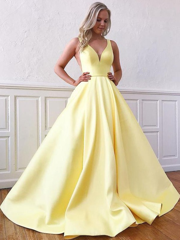 A-Line/Princess Satin Sleeveless Ruffles V-neck Sweep/Brush Train Dresses