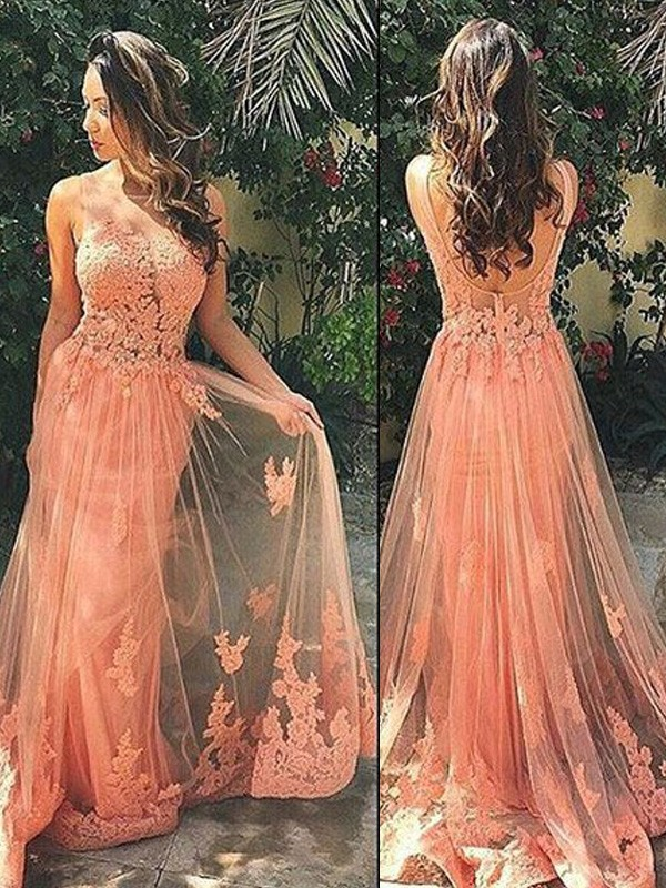 Straps Brush Train Orange Prom Dresses with Applique