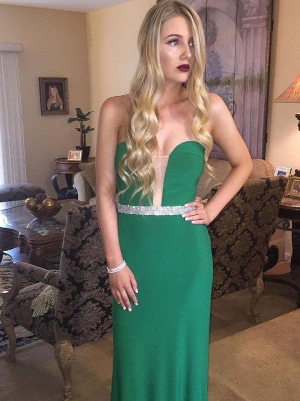 Sheath Satin Sweetheart Floor-Length Dark Green Prom Dresses