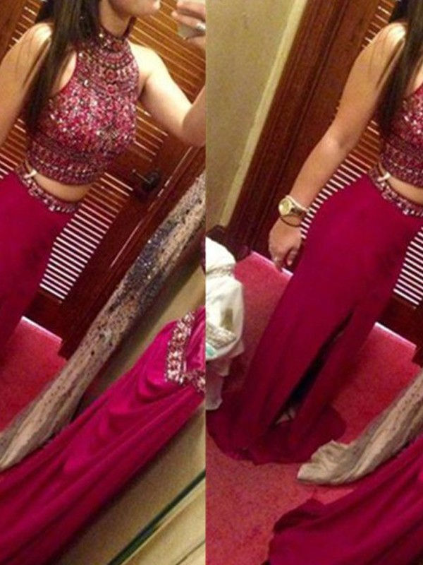 Sheath Jewel Floor-Length Red Prom Dresses