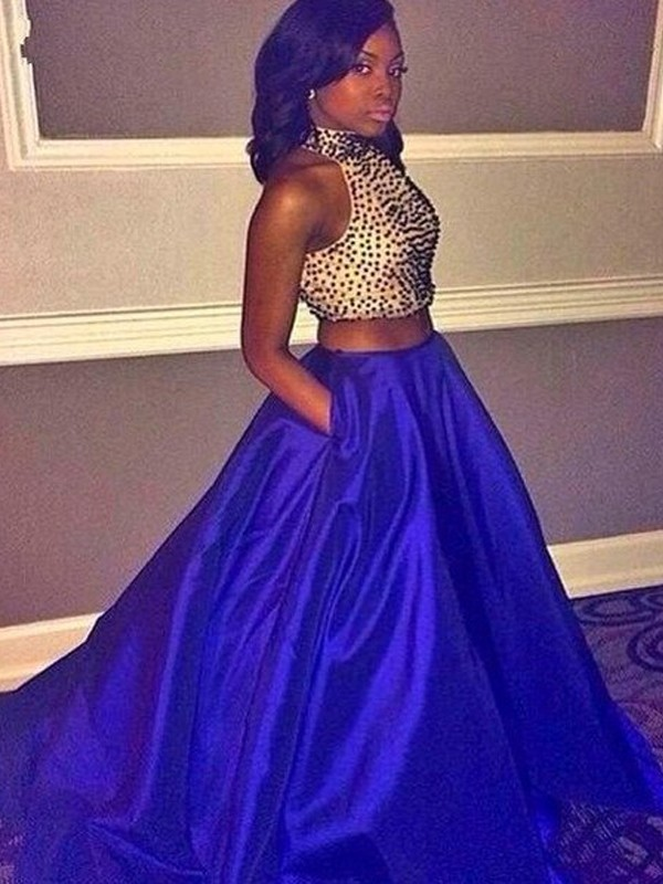Taffeta Halter Brush Train Royal Blue Prom Dresses