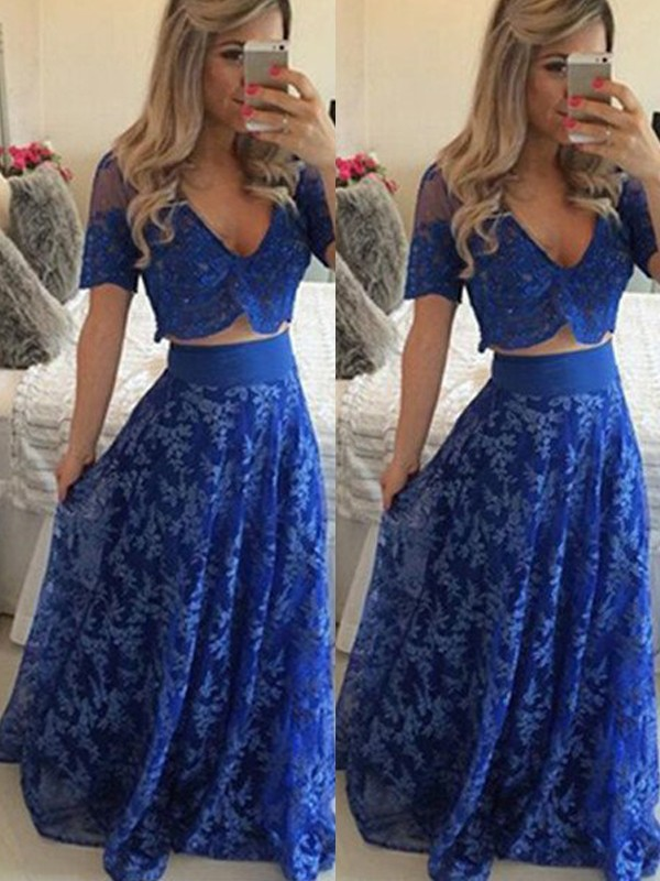 Floor-Length Royal Blue Short Sleeves V-neck Prom Dresses