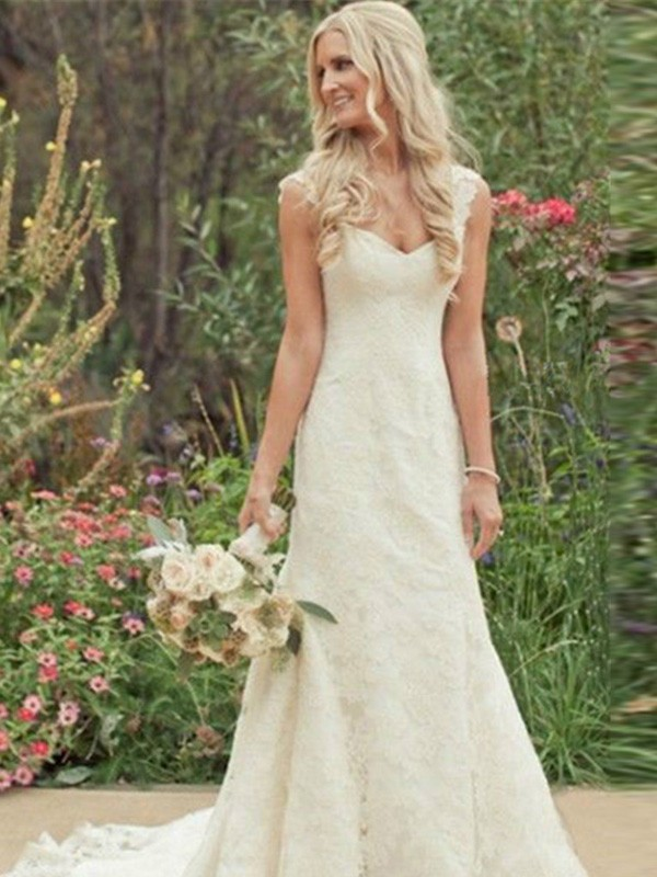 Lace Mermaid Brush Train V-neck White Wedding Dresses
