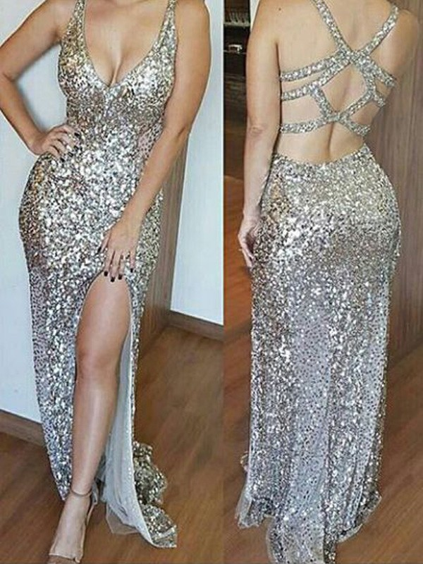 Sheath V-neck Brush Train Gold Prom Dresses