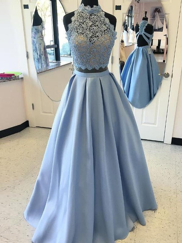 Ball Gown Satin High Neck Floor-Length Prom Dresses with Applique