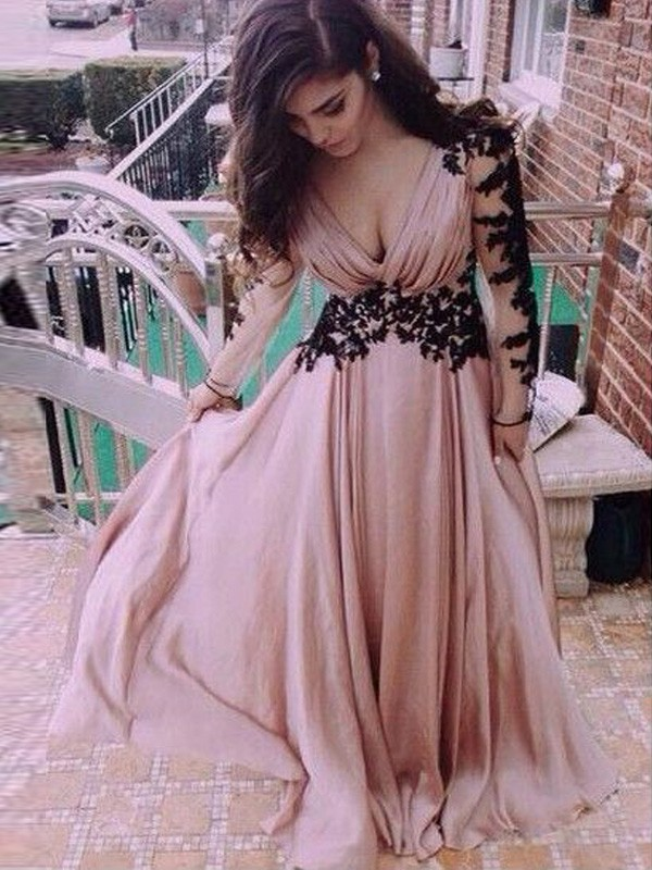 Chiffon Long Sleeves V-neck Floor-Length Pink Prom Dresses
