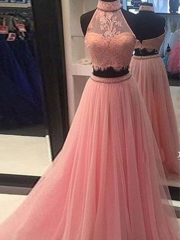 A-Line Tulle High Neck Floor-Length Prom Dresses with Lace
